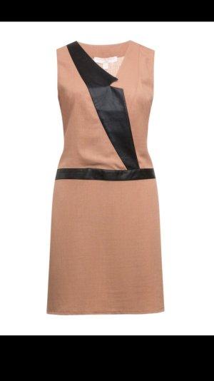 Beiges Kleid mit Leinen und Kunstleder-Details, Manon Baptiste, Größe 50/52,neu