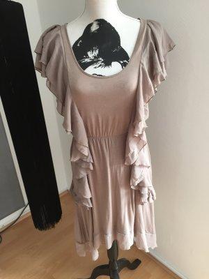 Beiges Kleid mit Volants - vielseitig kombinierbar