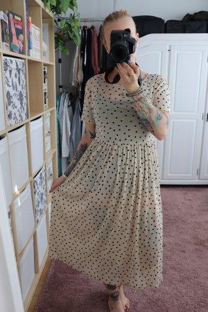 Beiges Kleid von Vila Größe S mit schwarzen Punkten Dots