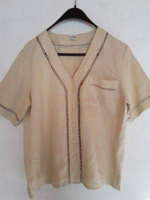Beiges Leinenhemd in Gr. 40 Damenhemd 100% Leinen