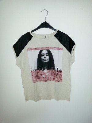 Beiges T-shirt mit Motiv ☆