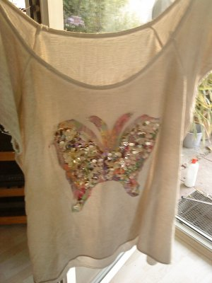 beiges T-Shirt mit Pailletten Butterfly made in Italy 40/42