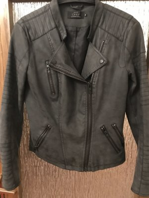 Only Faux Leather Jacket dark grey
