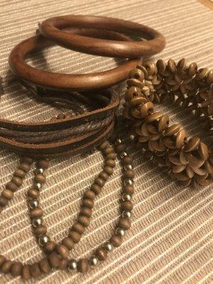 Beim Einkauf über 30 € bei mir * gibt´s einen Artikel unter 10 € gratis dazu * Schmuck SET Holz Boho Armbänder Armreifen Lederarmband Holzarmband Hippie Indianer
