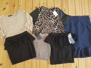 Bekleidungspaket Set 6 Teile H&M XS S 34 36 Peplum Blazer Jacke Bluse Mini Rock
