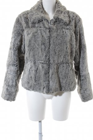 BELFE & BELFE Fake Fur Jacket light grey-dark grey flecked extravagant style