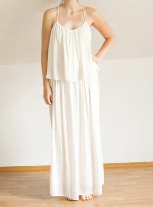 Zara Robe longue blanc-blanc cassé