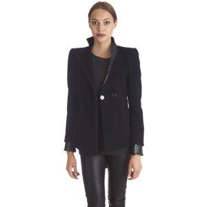 Belier Giacca di lana nero stile  materiale misto