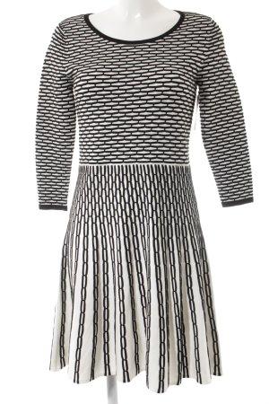 Belle Vere Midi-jurk zwart-wolwit abstract patroon simpele stijl