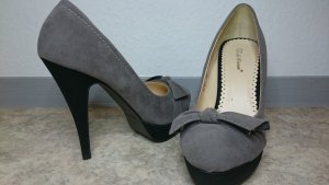 ★ Belle Woman PlateauPumps mit Schleife grau/schwarz★