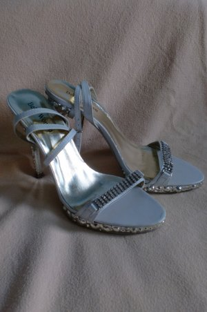 Belle Women Sandalias de tacón blanco-color plata