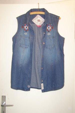 Gilet en jean bleu-bleu foncé coton