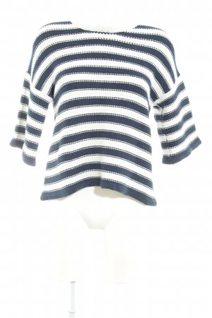 Bellfield Sweater met korte mouwen wolwit-donkerblauw gestreept patroon