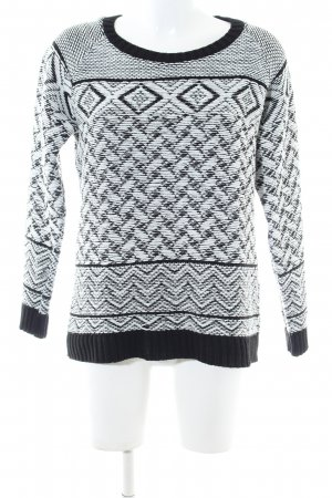 Bellfield Crewneck Sweater black-white abstract pattern business style