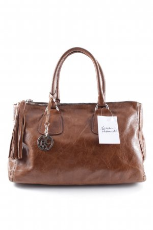 Bellissima Handbag cognac-coloured wet-look