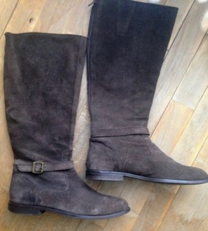 Belmondo Wide Calf Boots dark brown suede
