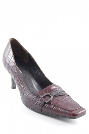 Belmondo Peep Toe Pumps brown red-dark brown animal pattern Paris-Look