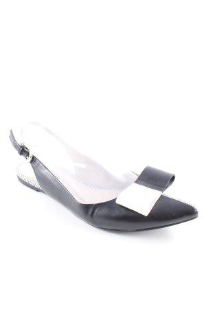 Belmondo Ballerine à bride arrière blanc-noir style minimaliste