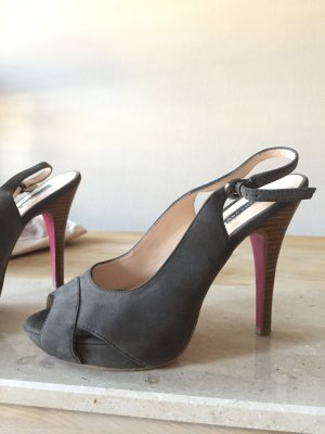 Belmondo Slingback Heels/ High Heel graues Wildleder mit pinker Schuhsohle und Absatz in Holz-Optik