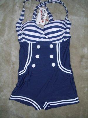 Belsira Vintage Badeanzug in blau-weiß Größe M