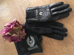 Belstaff Leather Gloves black-silver-colored