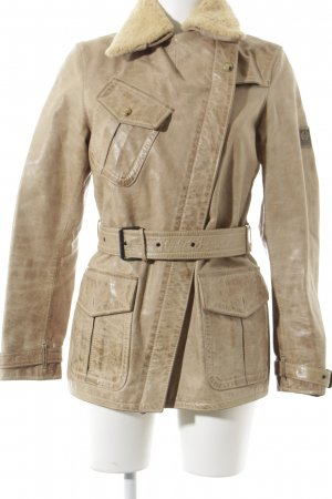 Belstaff Leren jack beige Logo applicatie
