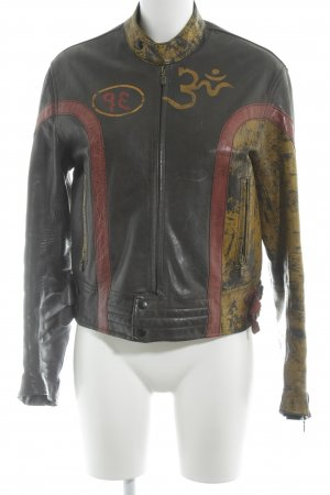 Belstaff Leather Jacket printed lettering urban style