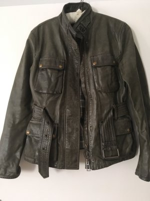 Belstaff Leather Jacket green grey leather