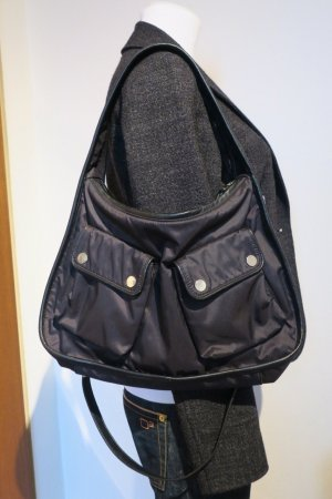 Belstaff Bolso barrel negro-color plata Nailon