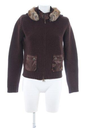 Belstaff Veste en tricot brun foncé molletonné