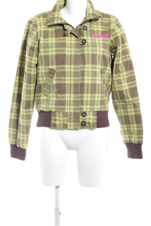 Bench Bomber Jacket grass green-light brown check pattern casual look