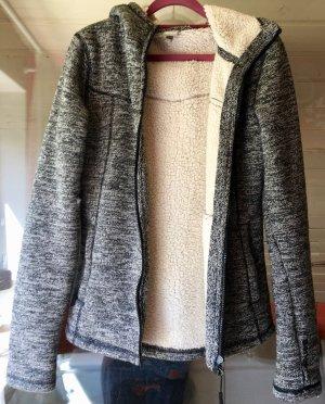 BENCH Bonded Fire II - Strickjacke in grau/schwarz/weiß