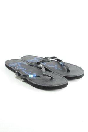 Bench Flip Flop Sandalen schwarz-dunkelblau Schriftzug gedruckt Beach-Look