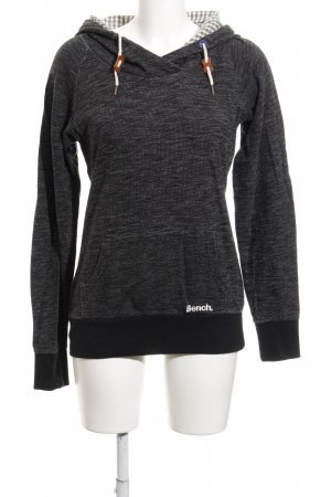 Bench Hooded Sweater black-dark grey flecked simple style