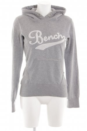 Bench Hooded Sweatshirt light grey-white embroidered lettering casual look