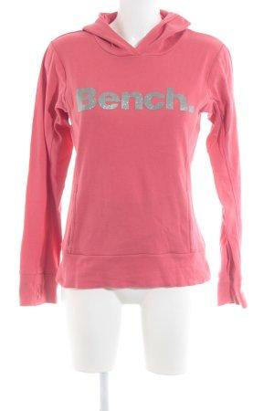 Bench Kapuzensweatshirt neonrot-silberfarben Schriftzug gedruckt Casual-Look