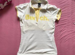 Bench oberteil shirt t-shirt gelb weiß größe s 36 poloshirt