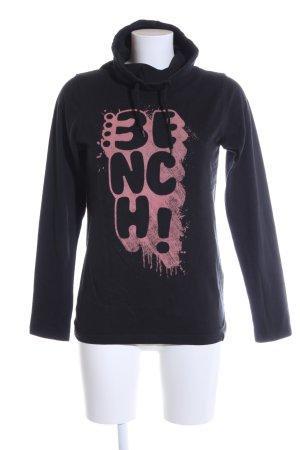 Bench Rollkragenshirt schwarz-pink Schriftzug gedruckt Casual-Look