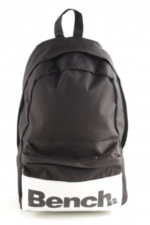 Bench School Backpack black-white printed lettering casual look