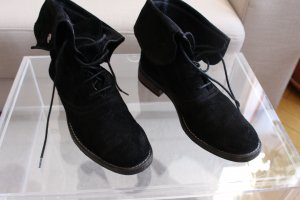 Bench Lace-up Booties black suede