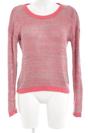 Bench Maglione lavorato a maglia grigio-rosso chiaro puntinato stile casual