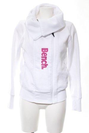 Bench Sweatjacke weiß-pink Schriftzug gedruckt Casual-Look