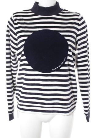 Bench Sweatshirt dunkelblau-weiß Streifenmuster Casual-Look