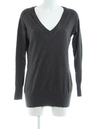 Bench V-Ausschnitt-Pullover hellgrau-schwarz meliert Casual-Look