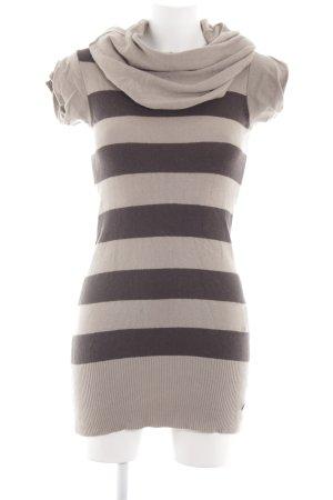 Bench Wollen jurk wolwit-bruin gestreept patroon casual uitstraling