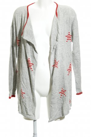 Benedetta B. Cardigan light grey-red star pattern casual look