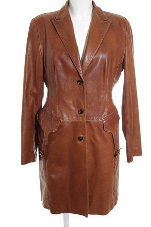 Benedetta Novi Cappotto in pelle cognac-marrone elegante