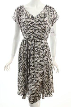 Benetton A-Linien Kleid dunkelblau-wollweiß abstraktes Muster Casual-Look