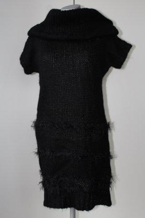 Benetton Abendkleid Rollkragen zum knöpfen Kurzarm neu mit Etikett schwarz XS