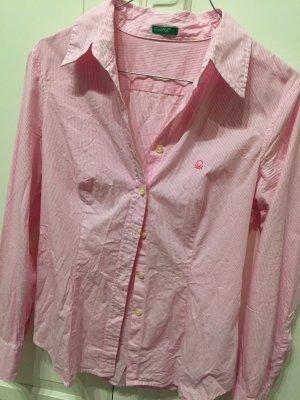Benetton Bluse Gestreift Weiß rosa
